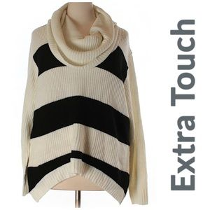 Extra Touch Striped Cowl Neck Sweater Hi Lo 2X